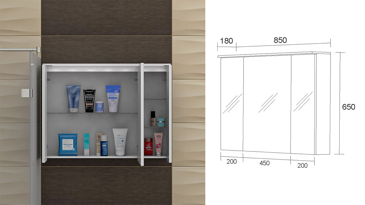Bathroom Mirror Cabinet With Led Lights Michigan 85 Pvc т Hikovibg