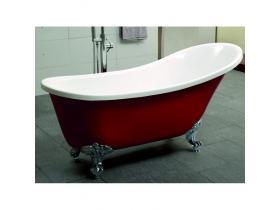 Свободностояща ретро вана в червено с крачета 163x70 ICS LB 1784 R