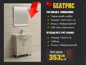 Сет шкаф за баня и огледало Беатрис 80 см PVC