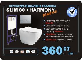 Конзолна тоалетна чиния Harmony и структура за вграждане Slim 80